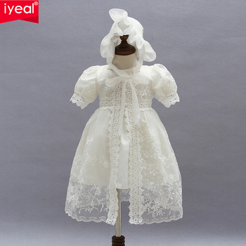 IYEAL Baby Girl Dress With Shawl + Hat for Toddler Girls Infant 1 Year Birthday Party Baptism Christening Gown High Quality heirloom baptism dress baby girls royal christening gown floor length short sleeve o neck baby girls birthday gown with ribbon