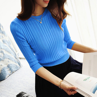 Korean Summer Female Head Neck Sweater Cuff Half Sleeve Shirt Five Half Sleeve Slim Thin Coat