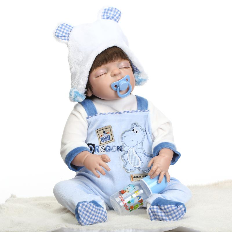 все цены на 21 Inch Real Looking Silicone Reborn Baby Dolls Newborn Doll Toys for Girl Children Gifts Newborn Baby Boy Doll Sleeping Dolls онлайн