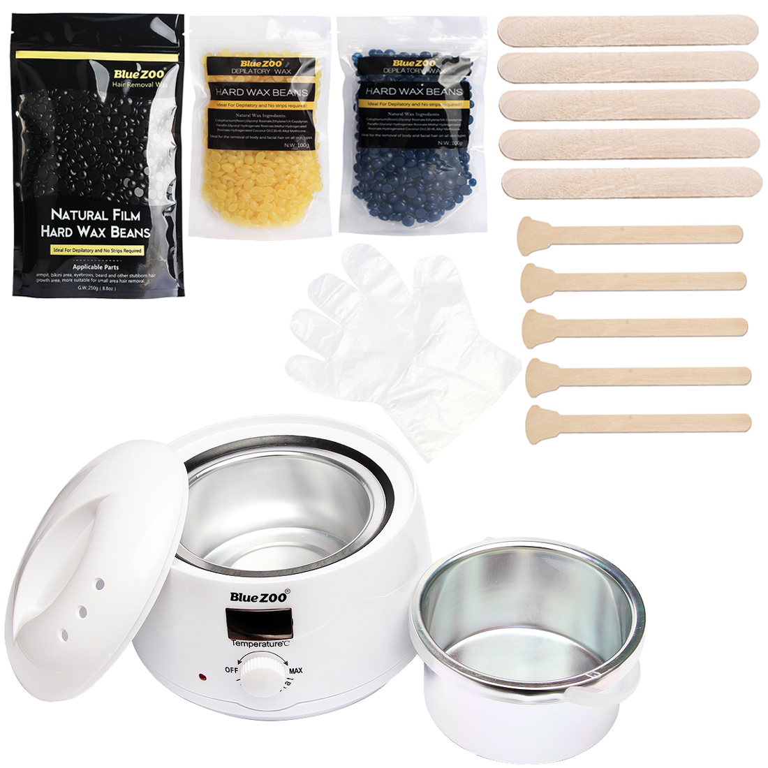Home Economic Hot Film Hard Wax Beans Epilator Depilatory Set Wax Heater Pot 3 Bag Wax Beans + 10 Wood Spatulas + 10 Gloves economic methodology