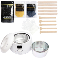 Home Economic Hot Film Hard Wax Beans Epilator Depilatory Set Wax Heater Pot 3 Bag Wax Beans + 10 Wood Spatulas + 10 Gloves