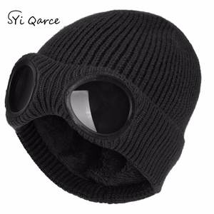 Knitted-Caps Skullies Winter Women Syi Solid Qarce for Men's Double-Removable-Glasses