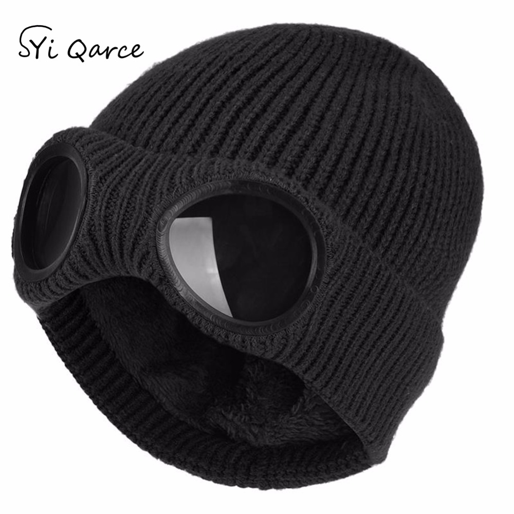 SYi Qarce HOT SELL Solid Colors Winter Knitted Caps   Skullies     Beanies   Cap for Women Men's Double Removable Glasses Cap NM137-39