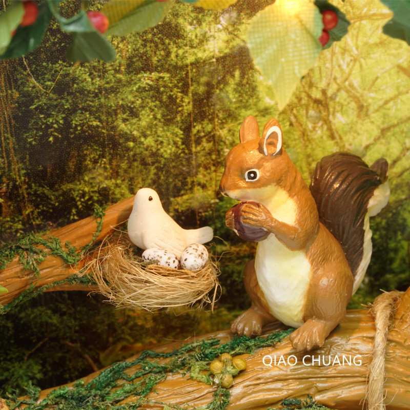 Nuts Squirrel Cartoon DIY Cabin With LED Light Creative Hand Made Wood PLapp Photo Frame Birthday Gift L481