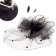 Tocados Sombreros Bodas элегантные черные женские свадебные шляпы с зажимом перо вуалетки для свадеб Свадебные аксессуары шляпы