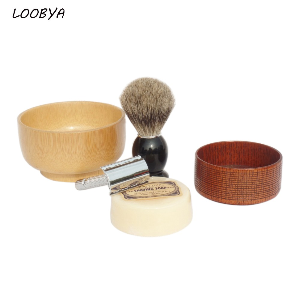 5pc/set Badger Shaving Brush Shave Soap Bowl and Silver Stainless Steel Razor dirty soap and timed disappearing bloody soap bars 2 pack