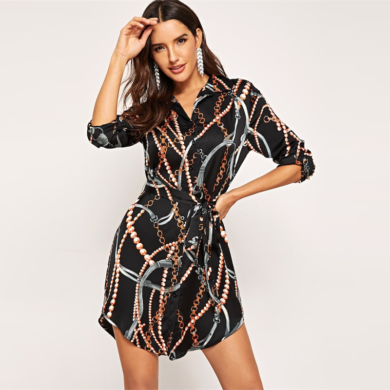 COLROVIE Black Curved Belted Collar Elegant Satin Shirt Dress Women 2019 Spring Long Sleeve Short Dress Office Ladies Dresses 7