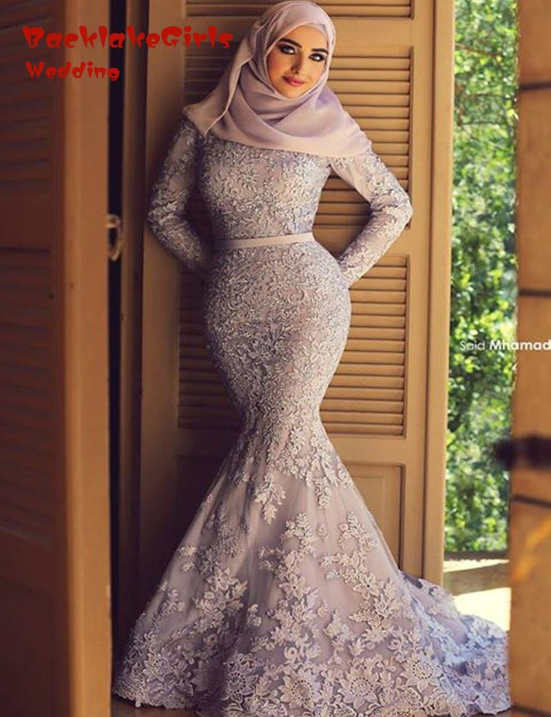 Dress code evening gown - Mermaid Muslim Saud Dubai Dresses Long Sleeve Vestido Robe De Soiree Festa Longo Evening Gowns 2016