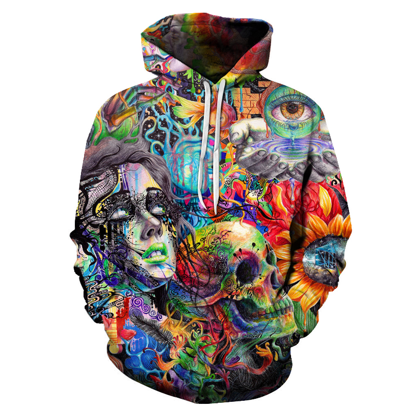 LiZhiYang Store 2017 sweatshirt Hoodies Men women Cool creative 3D print colorful Skull head eye fashion hot Style Streetwear Clothes wholesale