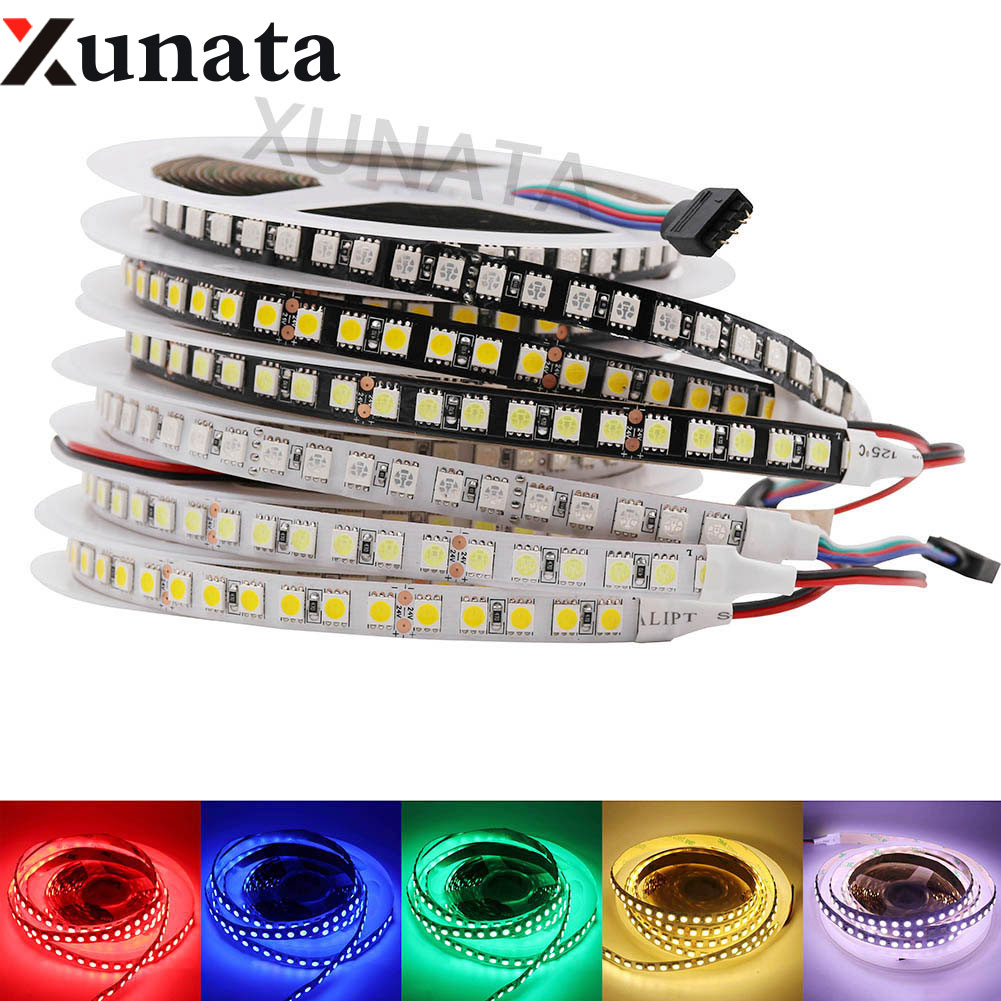 5M DC24V SMD 5050 LED Strip Light 120Leds/m Flexible Non Waterproof Led Strip Ribbon Tape Home Decoration White/Black PCB5M DC24V SMD 5050 LED Strip Light 120Leds/m Flexible Non Waterproof Led Strip Ribbon Tape Home Decoration White/Black PCB