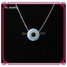 50 шт/партия светло-голубой опал синий кулон-глаз 10 мм синий глаз кулон 925 серебро 18 дюймов ожерелье