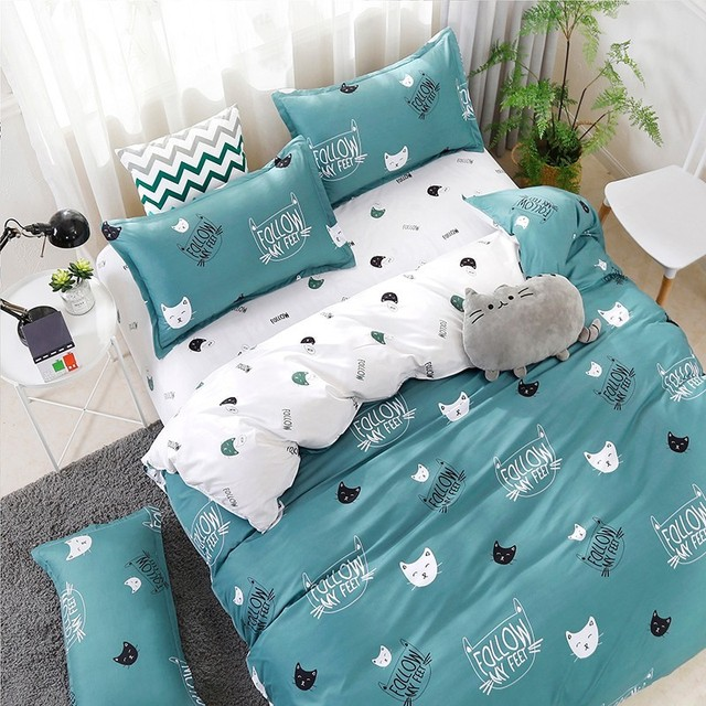 Solstice Home Textile Cyan Cute Cat Kitty Duvet Cover Pillow Case Bed Sheet Boy Kid Teen Girl Bedding Covers Set King Queen Twin 3