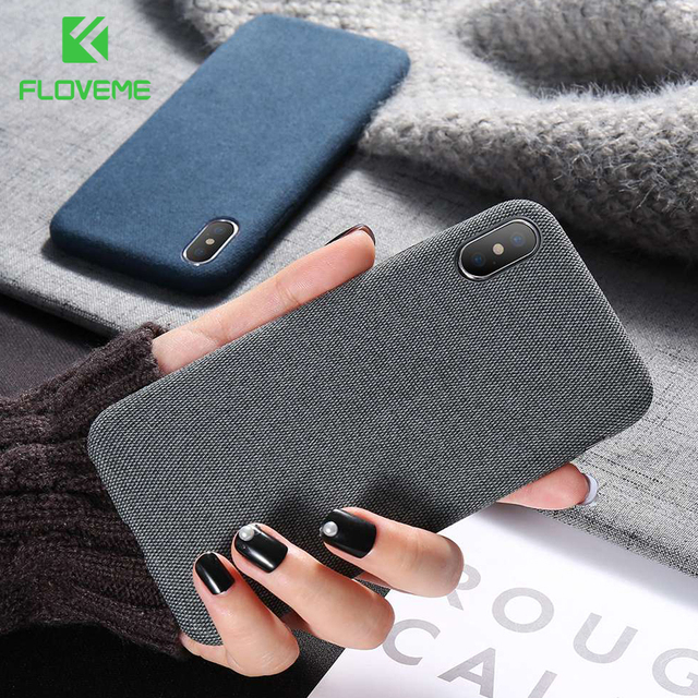 FLOVEME Case For iPhone 7 6 X XS MAX Luxury Cloth Texture Soft TPU Silicone Cover For iPhone 8 iPhone 6 6s 7 plus Phone Case Bag