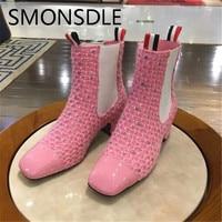 SMONSDLE Новая мода черный, белый, розовый цвет женские ботильоны квадратный носок слипоны невысокий устойчивый каблук Для женщин Осенне зимни