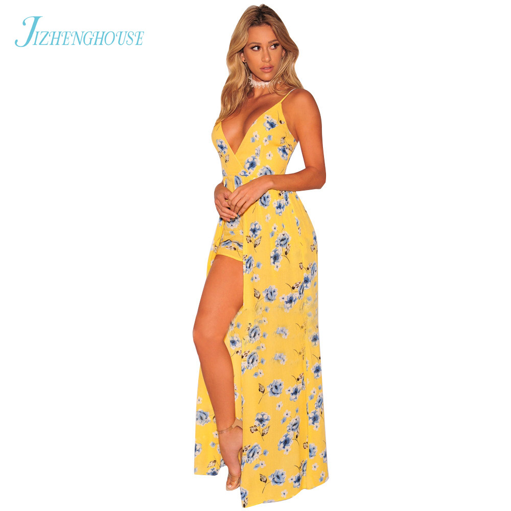 JIZHENGHOUSE Floral Jumpsuit Fashion Women Spaghetti Strap Playsuits Casual Beach V Neck Sexy Jumpsuits Overalls