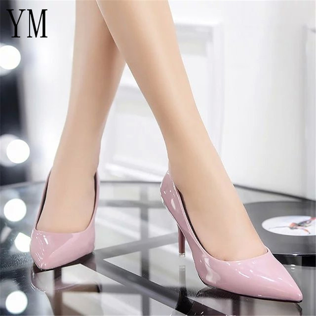 Hot Selling Women Shoes Pointed Toe Pumps Patent Leather Dress Red 8CM High Heels Boat Shoes Shadow Wedding Shoes Zapatos Mujer 2