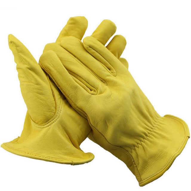 Luvas de pele de carneiro-resistente ao desgaste macio motorista proteção proteção do trabalho trabalho para mover toda a pele do jardim