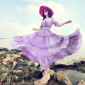 2017 Primavera y el Verano de Moda Vestido Bohemio de la Playa Más El Tamaño Elástico de La Cintura Media Manga de Gasa Vestido Femenino Vestido Ultra Largo