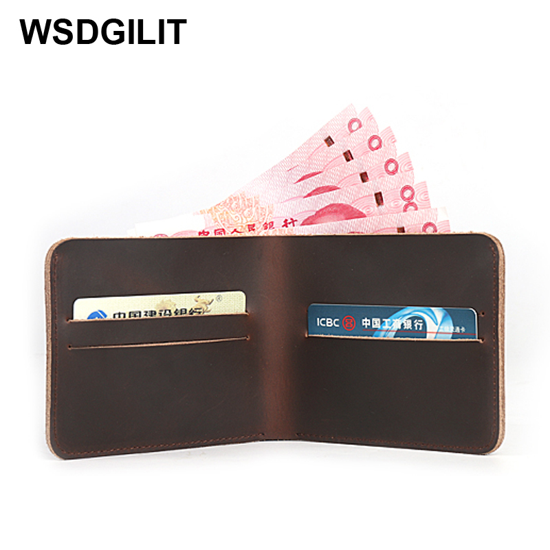 100% Genuine Leather Men Thin Wallet Crazy Horse Leather Men Wallets Vintage Man Wallet Male Purse Carteira Card Holder Case les demi vierges