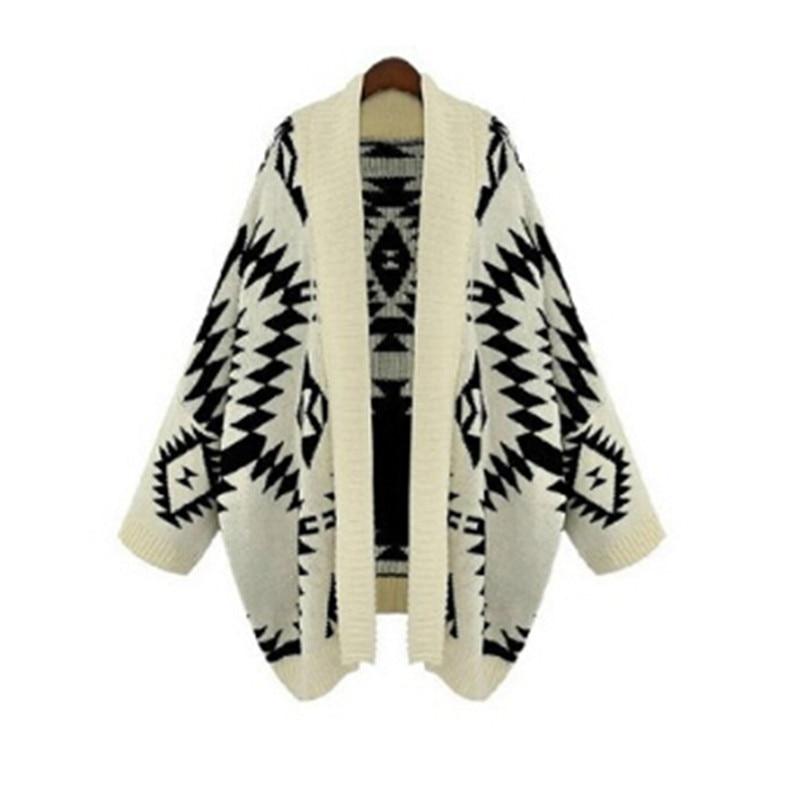 2017 Autumn Winter New Casual Vintage Geometric Loose Batwing Cape Poncho Women Knitwear Coat Cardigan Sweater Shawl Plus Size