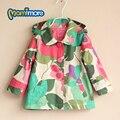 Flower Print Girls Windbreaker Jacket 2017 Spring and Autumn Fashion In Children Hooded Coats for Children Jacket for Girl