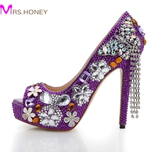 Purple Rhinestone Wedding Shoes 2016 Handmade Butterfly Tassel Bridal Dress Shoes Peep Toe High Heel Platform Party Prom Pumps