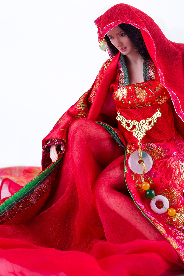 1/6 Ancient Female Chinese Dress Skirt Suit Bride Wedding Dress Clothing Bride dowry red lady Fit 12 Inch Phicen Action Figure