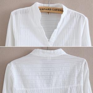 Image 4 - Foxmertor % 100% Pamuklu Gömlek Beyaz Bluz 2018 Ilkbahar Sonbahar Bluz Gömlek Kadınlar Uzun Kollu Casual Tops Katı Cep Blusas #06