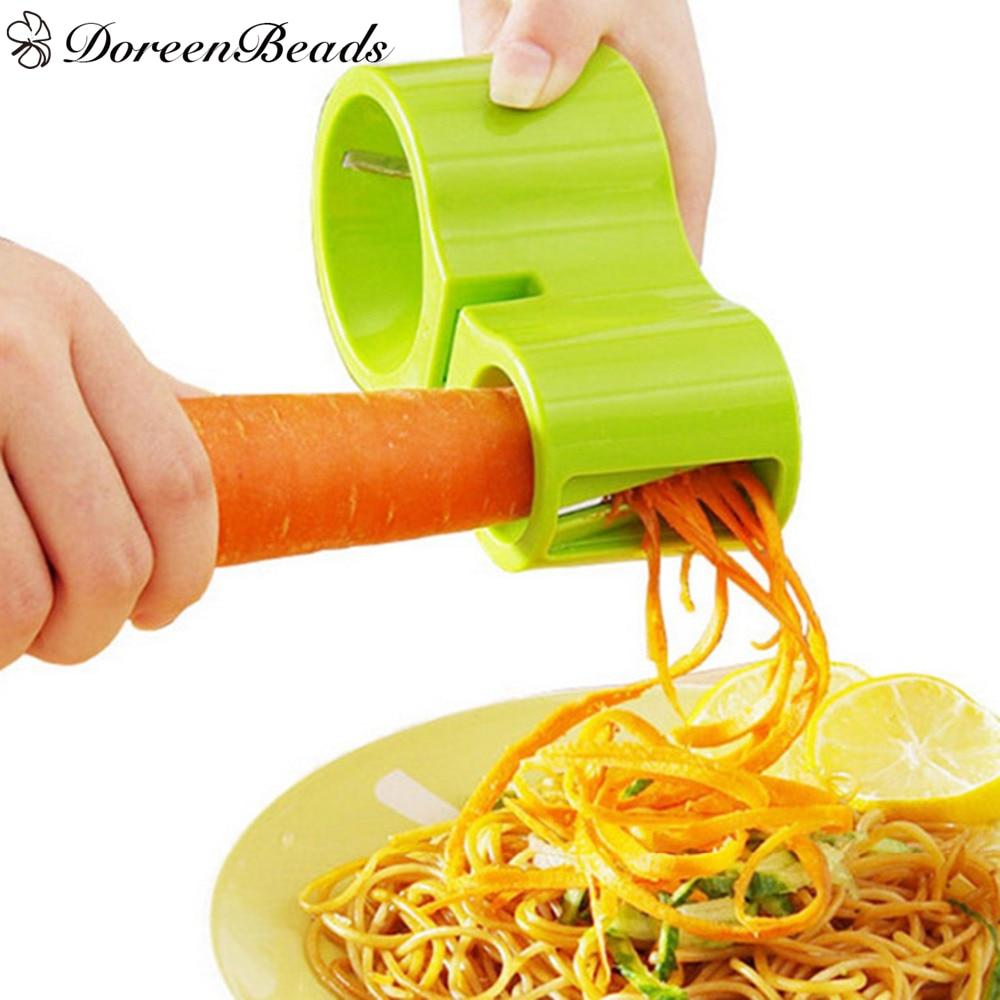 DoreenBeads Multi functional Slicers Spiral Cutter Sharpener Vegetable Fruit Spiral Shred Process Device Peeler Random Color