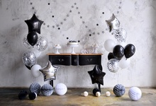 hot deal buy baby balloons happy 1st birthday party cake floral star cement wall child portrait photo backdrops photo background photo studio