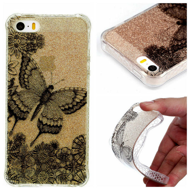 Phone Case For Apple iPhone 5 5S SE 5G Bling Bling Back Cover Soft Both IMD TPU Cases for iPhone5 S E
