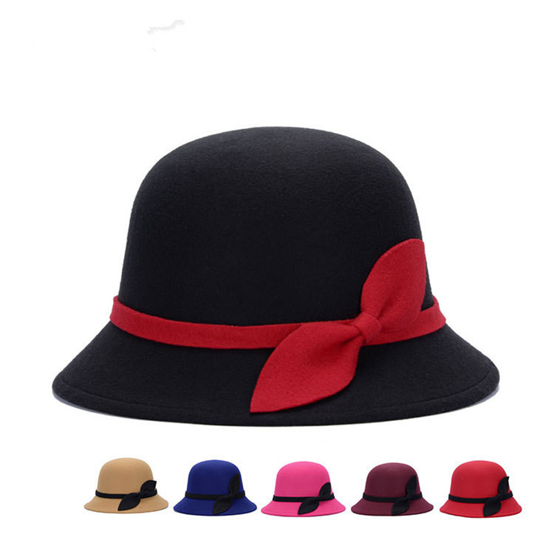 80458834a46 2018 new 7 colors women hat bowknot Fedoras cap Basin of dome woolen cloth  hat female