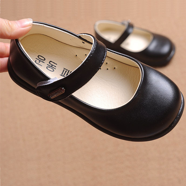 081e85a8f83 Baby Toddlers Flats Leather Children Flat Shoes Kids Black White Red Little  Girls Dancing shoes Teenage Big Girls School Shoes