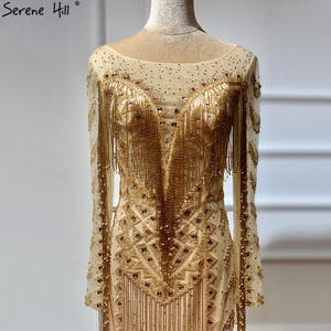 Image 3 - דובאי עיצוב ארוך שרוולים יוקרה ערב שמלות 2020 זהב ואגלי ציצית שמלת ערב ארוך תמונה אמיתית LA60780