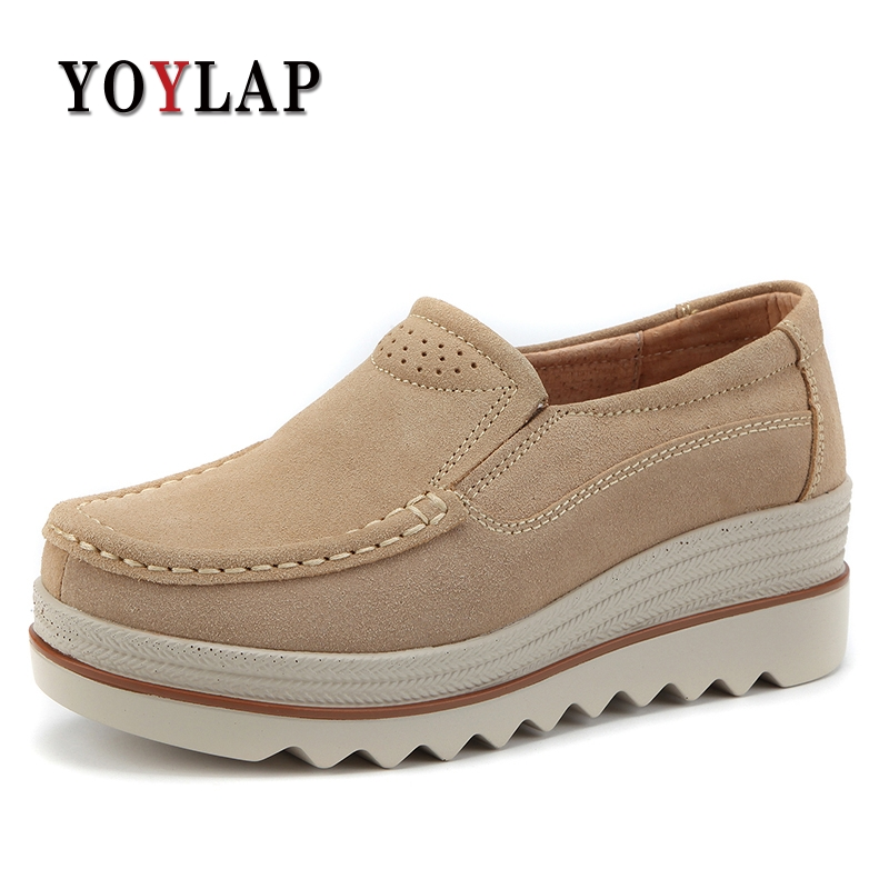 YOYLAP Brand 2018 Spring women flats shoes platform sneakers shoes   leather     suede   casual slip on flats heels shoes