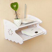 DIY Carved Wooden Wall Shelf HDF STB Remote Control Holder TV Set Top Routers Storage Rack