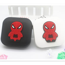 LIUSVENTINA 2018 New Soft Rubber Cartoon Spider-Man Contact Lens Case With Mirror Box Container for Contact Lens Gift for Girls(China)