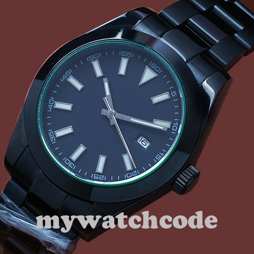 Parnis black dial PVD luminous automatic movement sapphire glass Mens Watch P336 40mm parnis white dial vintage automatic movement mens watch p25