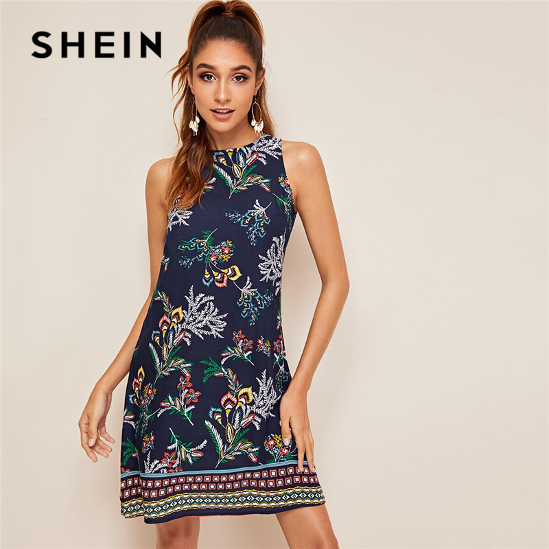 SHEIN Aztec Print Keyhole Back Summer Dress Sleeveless Round Neck Straight Women Dresses Boho Floral Tank Mini Dress