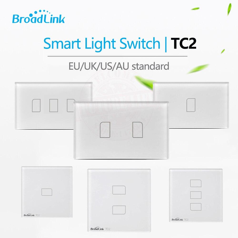 Broadlink TC2 1 Banda/Banda 2/3 Gang UK/EU/US Tocco RF433 Interruttore Casa Intelligente Automation Wireless Wifi Remotel Controllo Chiaro Della Parete