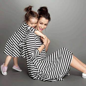 Mommy and me family matching mother daughter dresses clothes striped mom dress kids child outfits mum big sister baby girl 1
