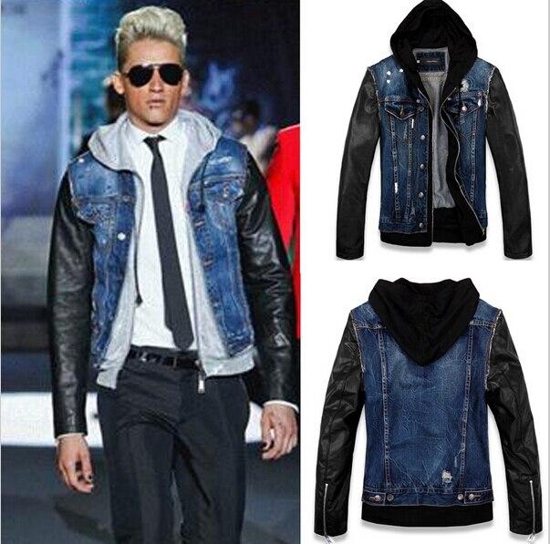 29084ebdc2d Plus Size Spring Autumn Fashion Men Stylish PU Leather Sleeve Patchwork  Hooded Denim Jacket Coat