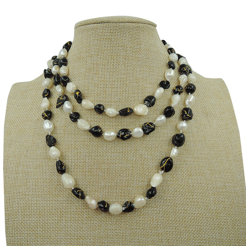 100% NATURE FRESHWATER PEARL LONG NECKLACE-120 CM in Baroque shape