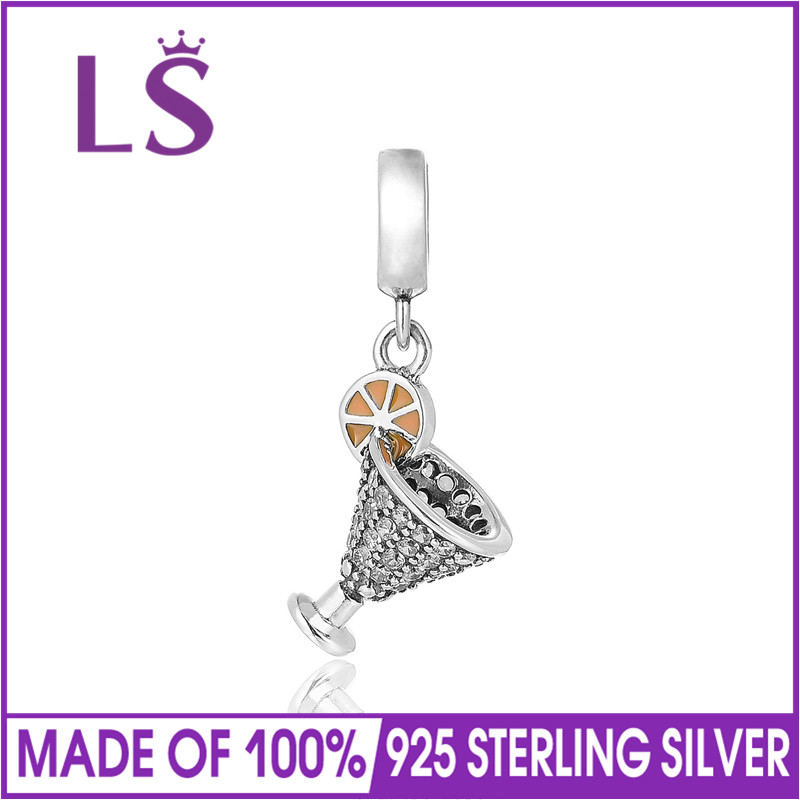 LS 925 Sterling Silver Food & Beverages Charm&Pendant Clear Zirconia Bracelet Necklace Bead DIY Jewelry Accessories