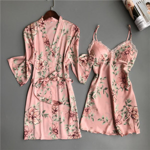 Image 3 - Two Piece Womens Pajamas Silk Dress And Robe Gown Set Floral Bathrobe Lingerie Femme Sexy Nightdress Kimono Sleepwear Home Suit
