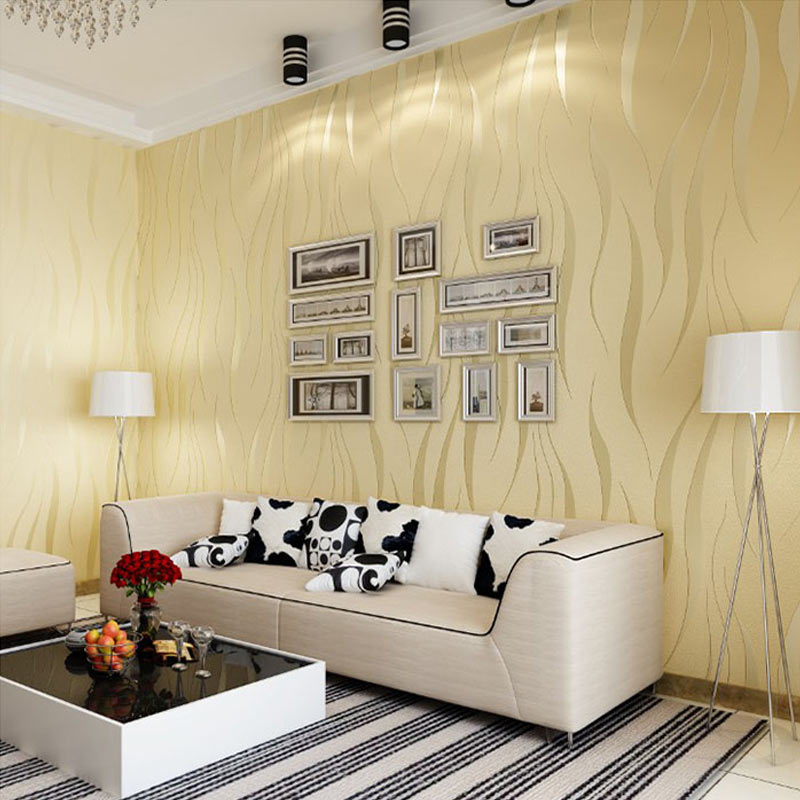 Gold 3D Wave Flocking Wallpaper Rolls 2 Colors 10M Room Improvement Silver
