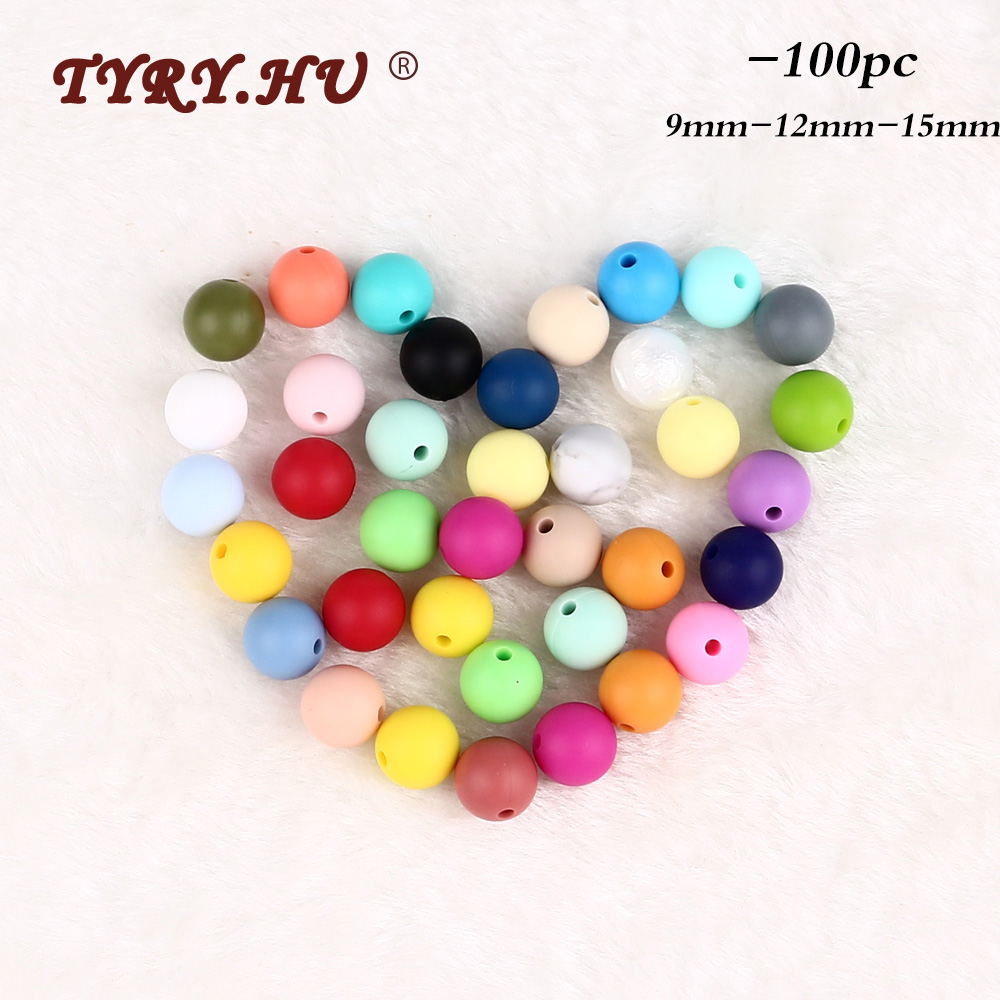Grade Safety Round BPA-Free Silicone Chew Beads Baby Teether Mom DIY Necklace