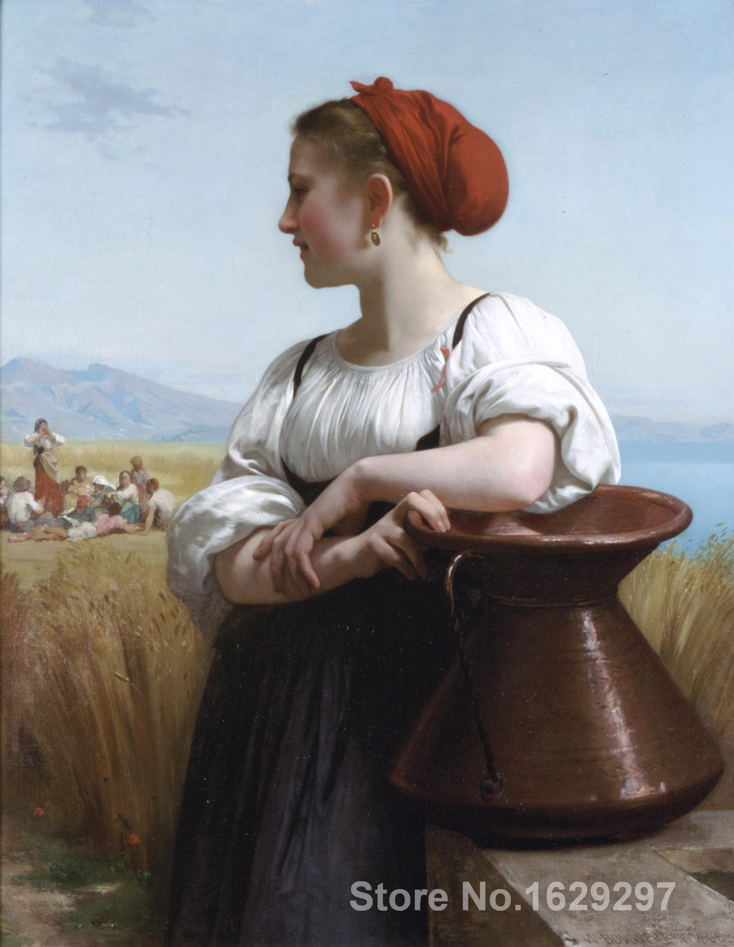 famous portrait painting Moissoneuse by William Adolphe Bouguereau Hand painted High quality