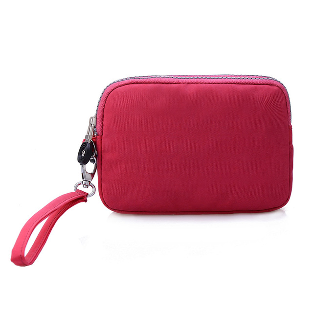 Small Fashion Women Clutch Bag Nylon Waterproof Nylon Multiple Wristlets Soft Zipper Pockets Style Shoulder Bag Purse 2