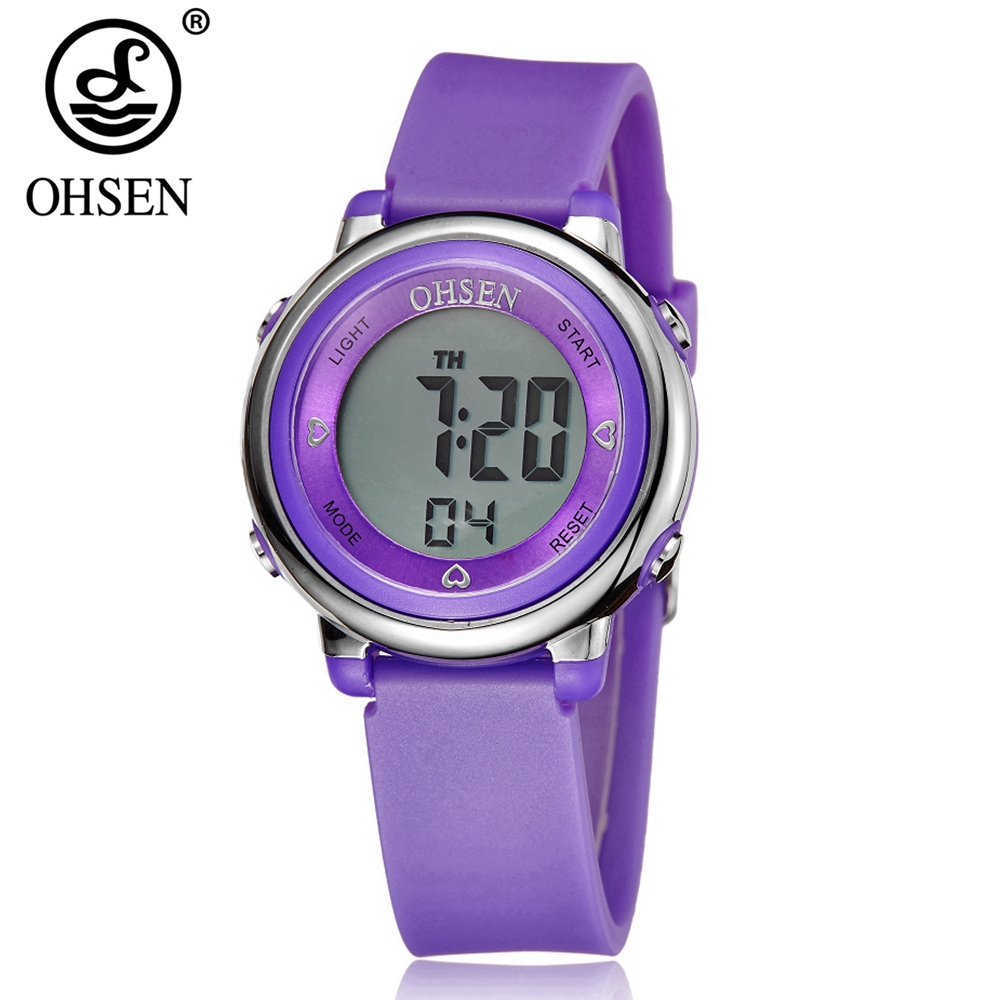 OHSEN Fashion Kids Boys Sport Digital LCD Watch 50M Diving Purple Silicone Strap Cartoon Children Wristwatches Alarm Clock Gifts